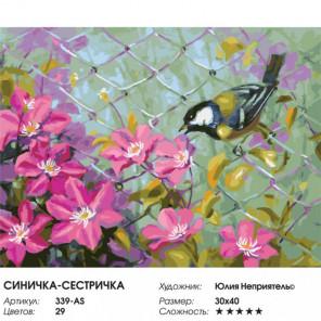 Сложность и количество цветов Синичка-сестричка Раскраска картина по номерам на холсте 339-AS