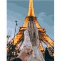 Следуй за мной. Эйфелева башня Раскраска картина по номерам на холсте