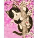 Весенний котенок Раскраска картина по номерам на холсте