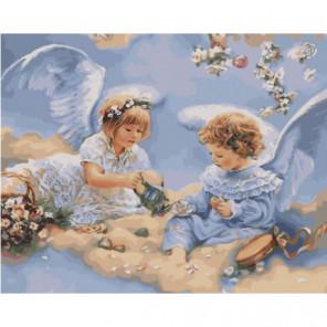 Чаепитие ангелов Раскраска картина по номерам на холсте