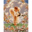 Ангелок с серым котенком Раскраска картина по номерам на холсте