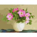 Цветы шиповника. Бузин Раскраска картина по номерам на холсте KK0664
