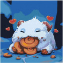 Poro eating snax 80х80 Раскраска картина по номерам на холсте