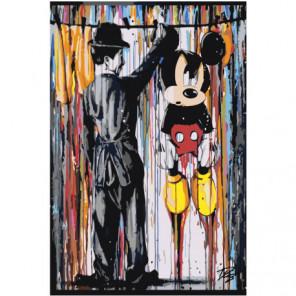 Чарли Чаплин и Микки Маус 80х120 Раскраска картина по номерам на холсте