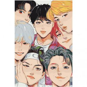 BTS аниме 80х120 Раскраска картина по номерам на холсте