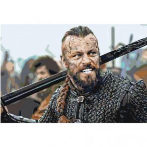 Викинг с мечом Раскраска картина по номерам на холсте