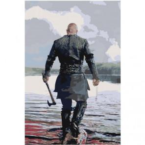 Викинг с топором Раскраска картина по номерам на холсте