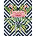 Фламинго и тропические листья 80х100 Раскраска картина по номерам на холсте