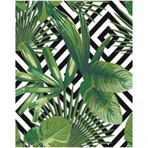 Тропические листья 80х100 Раскраска картина по номерам на холсте
