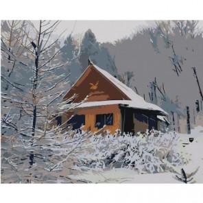 Домик в заснеженном лесу 80х100 Раскраска картина по номерам на холсте
