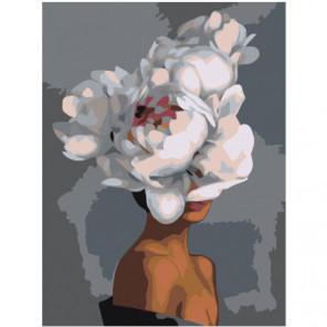 Белые пионы на голове Раскраска картина по номерам на холсте