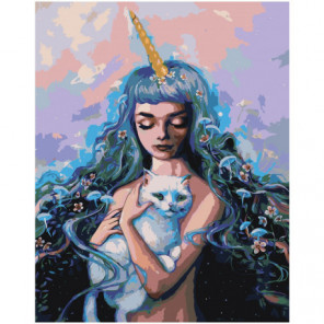 Девушка фэнтези с белым котом Раскраска картина по номерам на холсте