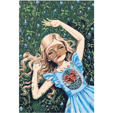 Девочка с сердцем Раскраска картина по номерам на холсте Z ...
