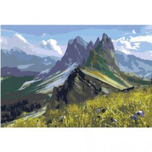 Горный пейзаж Раскраска картина по номерам на холсте