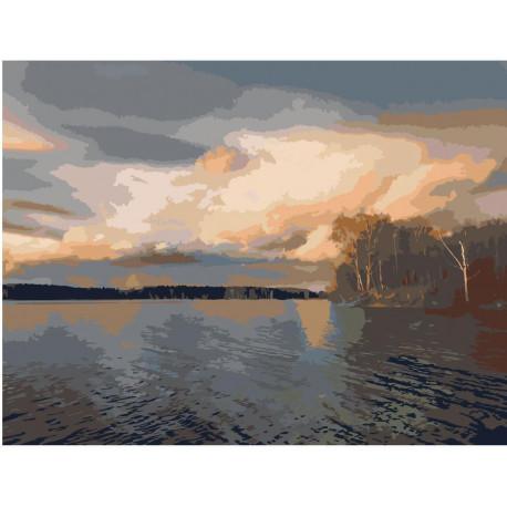 Закат на озере Раскраска картина по номерам на холсте ...