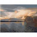 Закат на озере Раскраска картина по номерам на холсте