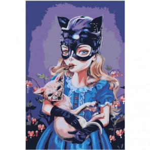Девочка кошка 80х120 Раскраска картина по номерам на холсте