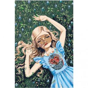Девочка с сердцем 80х120 Раскраска картина по номерам на холсте