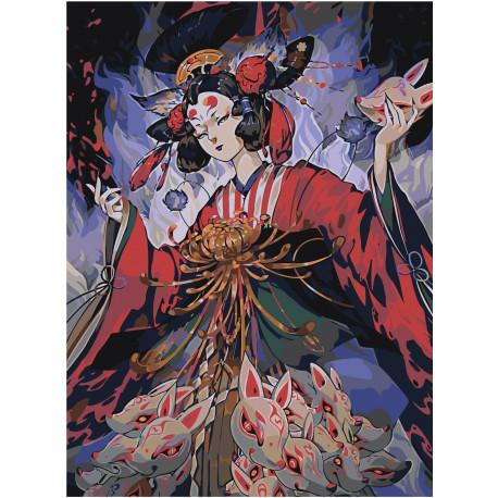 Японская девушка Раскраска картина по номерам на холсте ...