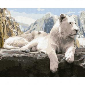 Белый лев Картина по номерам на дереве KD0660