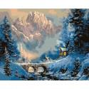 Зима в горах Картина по номерам на дереве KD0668