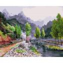 Весна в горах Картина по номерам на дереве KD0671