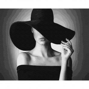 Дама в черном Картина по номерам на дереве KD0695