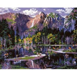 Горное озеро Раскраска картина по номерам на холсте GX30304