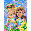 Девочки-ангелы Раскраска картина по номерам на холсте EX5272
