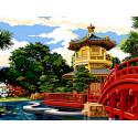 Японский мостик Раскраска картина по номерам на холсте EX6074