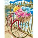 Велосипед в цветах Раскраска картина по номерам на холсте EX6114