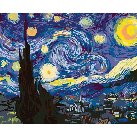 Летняя звездная ночь Ван Гог 80х100 Раскраска картина по ...
