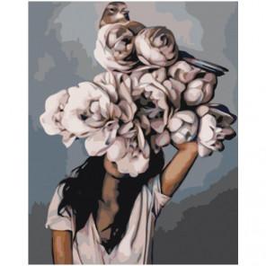 Белая цветочная голова девушки с птицей 80х100 Раскраска картина по номерам на холсте