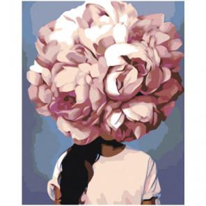 Пионовая цветочная голова девушки 80х100 Раскраска картина по номерам на холсте
