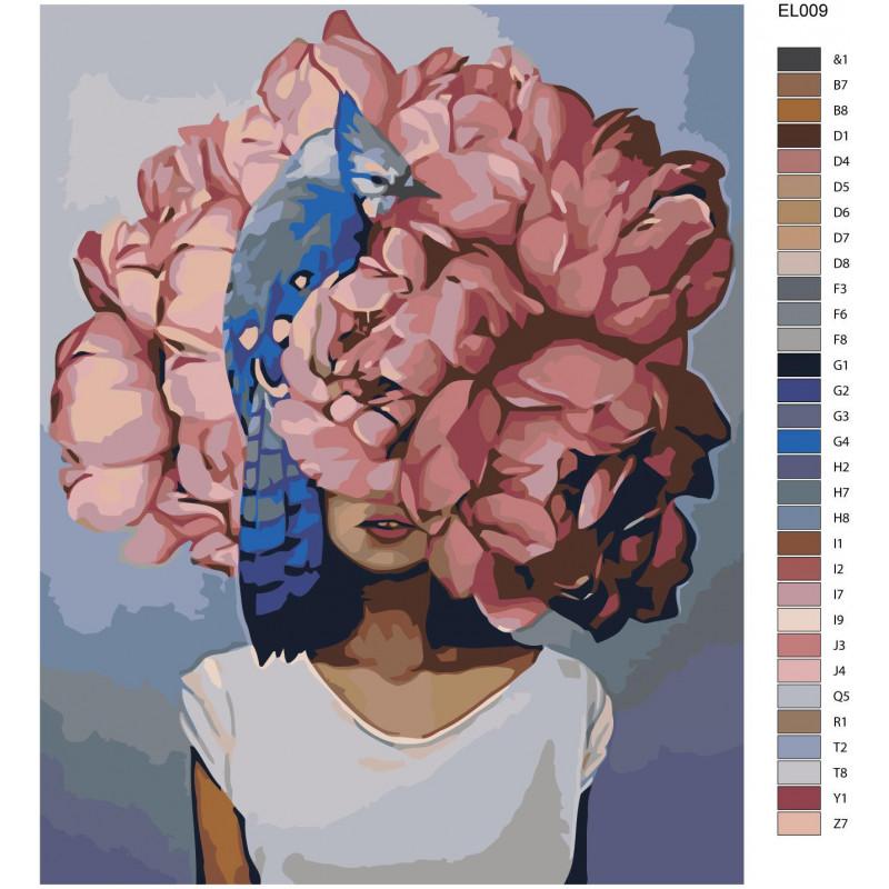 Розовая цветочная голова девушки с птицей Раскраска ...