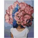 Розовая цветочная голова девушки с птицей 80х100 Раскраска картина по номерам на холсте