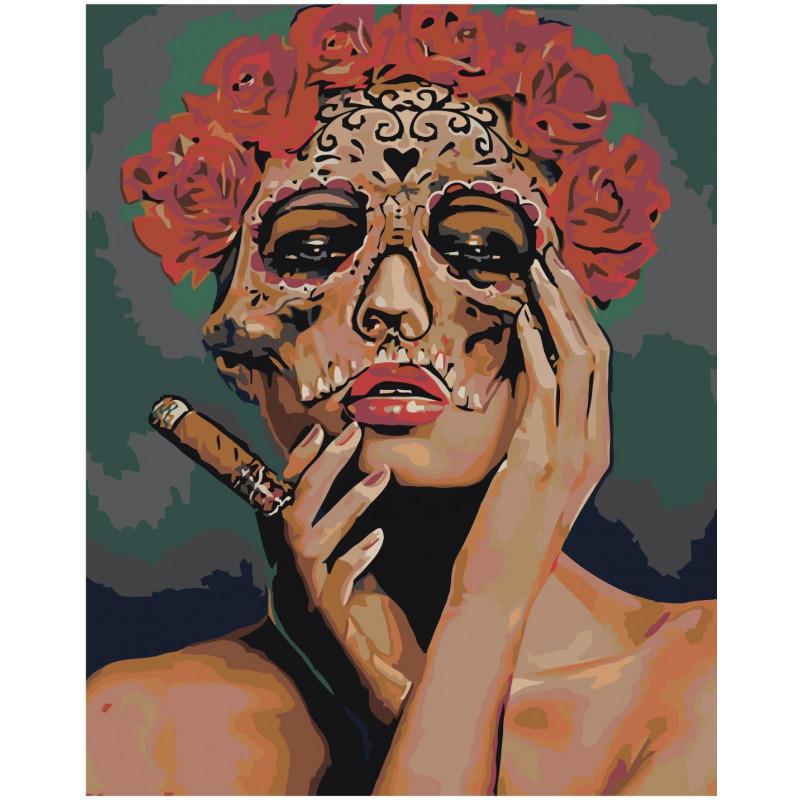 Девушка в маске с розами Раскраска картина по номерам на ...