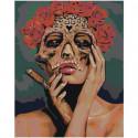 Девушка в маске с розами 80х100 Раскраска картина по номерам на холсте