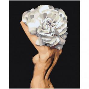Цветочная голова обнаженной девушки Раскраска картина по номерам на холсте