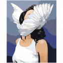 Девушка с крыльями на голове Раскраска картина по номерам на холсте