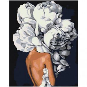 Скромная цветочная голова девушки 80х100 Раскраска картина по номерам на холсте