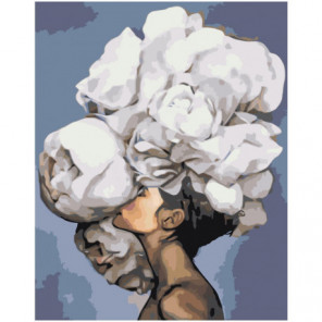 Девушка с белым букетом на голове 80х100 Раскраска картина по номерам на холсте