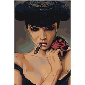 Испанка с сигарой 80х120 Раскраска картина по номерам на холсте