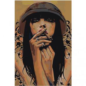 Брюнетка с сигарой Раскраска картина по номерам на холсте