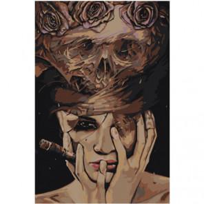 Женщина с сигарой Раскраска картина по номерам на холсте