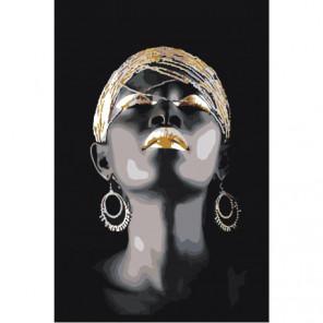 Африканка с серьгами 80х120 Раскраска картина по номерам на холсте