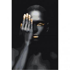 Африканка золото на черном 80х120 Раскраска картина по номерам на холсте