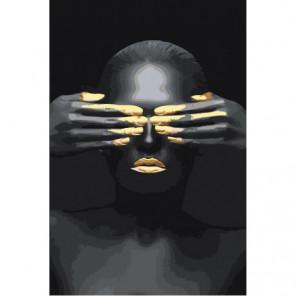 Африканка с закрытыми глазами Раскраска картина по номерам на холсте
