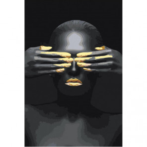 Африканка с закрытыми глазами 80х120 Раскраска картина по номерам на холсте