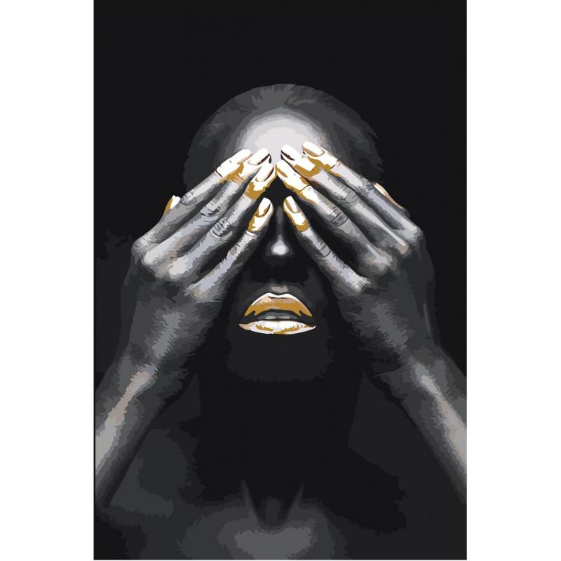 Африканская женщина с закрытыми глазами Раскраска картина ...